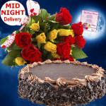 Beauteous Gifts - 15 Yellow and Red Roses Bunch, 1/2 Kg Chocolate Cake + Card