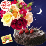 Warmth of Joy - 10 Mixed Roses in Vase, 1/2 Kg Chocolate Cake + Card