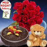 Ease of Gift - 20 Red Roses Bunch, 1/2 Kg Chocolate Cake, Teddy Bear 6 inch + Card