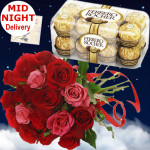 Flavor of Love - 15 Red & Pink Roses Bouquets, Ferrero Rocher 16 Pcs + Card