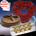 Heart of Chocolate - 50 Red Roses Heart Shaped Arrangement, 2 Ferrero Rocher 4 Pcs, Chocolate Cake 1/2 Kg + Card