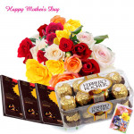 Flowers in Vase - 20 Mix Roses in Vase, Ferrero Rocher 16 pcs, 3 Bournville 30 gms each and Card