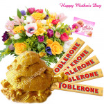 Mom's Special - 35 Assorted Flowers in Basket, Triple Tortoise, 5 Toblerone 50 gms each and Card