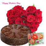 Mom for u - 30 Red Roses Heart, Chocolate Cake 1 kg and Card