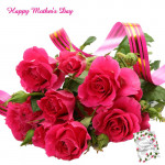 Artificial Red Roses - 12 Artificial Roses Bouquet + Mother's Day Greeting Card