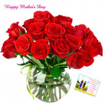Red Roses Vase - 10 Artificial Red Roses + Mother's Day Greeting Card
