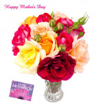 Mix Roses - 25 Artificial Mix Roses + Mother's Day Greeting Card