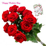Lovely Red Roses - 6 Artificial Red Roses + Mother's Day Greeting Card