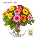 Mix Gerberas - 30 Artificial Mix Gerberas Vase + Mother's Day Greeting Card