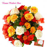 Artificial Mix Roses - 20 Artificial Mix Roses + Mother's Day Greeting Card