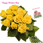 Yellow Roses - 10 Artificial Yellow Roses + Mother's Day Greeting Card