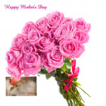 Pink Roses - 12 Artificial Pink Roses + Mother's Day Greeting Card