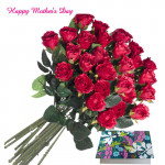 Red Bunch 25 Artificial Red Roses + Mother's Day Greeting Card