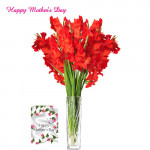 Artificial Lily Vase - 12 Artificial Lily Vase + Mother's Day Greeting Card