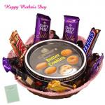 Royal Gift Basket - Danish Butter Cookies, 1 5 Star, 1 Mars, 1 Twix, 1 Cadbury Dairy Milk Crackle, 3 Cadbury Dairy Milk Silk, 1 Snickers and Card