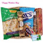 All in One Basket - Haldiram Namkeen, 1 Gems, Dryfruit Chikki Box, Fox Crystal Clear, Ferrero Rocher 4 pcs and Card