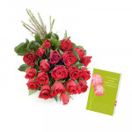 Special 21 - 21 Red Roses in bunch and Card