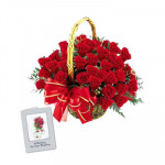 Special 25 - 25 Red Roses in Basket and Card