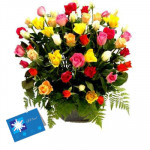 Special 50 - 50 mix Roses in Basket and Card