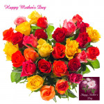 Colorful Arrangement - Heart Shaped Arrangement of 50 Multicolor Roses and Card