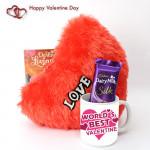 Milky Pillow Silk - Heart Pillow, World's Best Valentine Mug, Dairy Milk Silk and Card