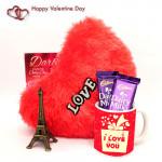 O My Love - Paris Eiffel Tower, I Love You Mug, 2 Dairy Milk, Heart Pillow and Card