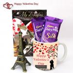 In Paris - Paris Eiffel Tower, Happy Valentines Day Mug, 2 Dairy Milk Silk and Card