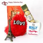 Small But Huge - Small Heart Pillow, Best Valentine Mug, Paris Eiffel Tower, Ferrero Rocher 4 Pcs and Card