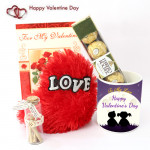 Love Message - Small Heart Pillow, Happy Valentines Day Mug, Messages in a Bottle, Ferrero Rocher 4 Pcs and Card