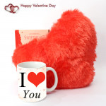 Hearty Mug - Heart Pillow, I Love You Mug and Card