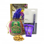 Superb Tidings - Parkar Beta Standard Pen, Almond in Potli (D), 2 Dairy Milk and Card
