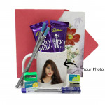 Full of Success - Personalized Mug, 2 Premium Wooden Pencil, 2 Cello Pen, Sharpener, Eraser, 2 Dairy Milk and Card