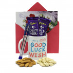 Treasure of Luck - Personalized Mug, 2 Cello Pen, Almond & Cashew, 2 Dairy Milk and Card