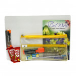 Students Joy - Clip Board, Premium Wooden Pencil, Cello Pen, Sharpener, Eraser, Scale, Highlighter, 2 Kitkat, Pouch and Card