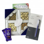 Healthy Luck - Assorted Dryfruits, Parkar Beta Standard Pen, 2 Dairy Milk and Card