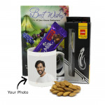 Warm Greetings - Personalized Mug, Cello Pen, Almond, Dairy Milk Fruit & Nut and Card