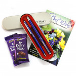 Students Delight - Flair Carlton - Set of Roller Pen & Ball Pen, 2 Dairy Milk and Card