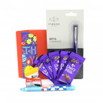 Luck Combos - Parkar Beta Standard Ball Pen, Mechanical Pencil, Stapler, 5 Dairy Milk and Card