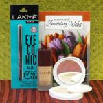 Lakme Total Hamper - Lakme Eyeconic Kajal, Lakme Invisible Foundation, Lakme Compact and Card