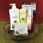 Lotus Wow Skin Combo - Lotus Body Lotion, Lotus Gel Cream, Lotus Herbals Rose Toner, Lotus Fruit Pack in Basket and Card