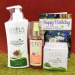 Lotus Delight Gift Hamper - Lotus Body Lotion, Lotus Gel Cream, Lotus Herbals Rose Toner and Card