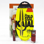 Maybelline & Lakme Lady Joy Combo - Maybelline the Colossal Kajal, Lakme Sindur, Maybelline Color Show Nail Polish and Card