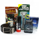 For My Bf - Leather Black Belt, Gillette Series After Shave Splash, Gillette Vector Razor, Gillette Foam, Garnier Face Wash and Card