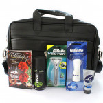 Love Filled - Black Leather Office Bag, Gillette Series Shave Gel, AXE Deo, Gillette Vector Razor, Gillette Shave Brush and Card