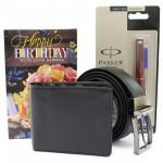 Parker N Leather - Leather Black Wallet, Leather Black Belt, Parker Beta Premium Roller Ball Pen and Card