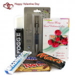 Foggy Combo - Fogg Deo, Parker Vector Standard Ball Pen, Snicker, Mars, Twix, Bounty and Card