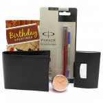 Brother's Gift - Leather Black Wallet, Table Clock, Parker Beta Premium Roller Ball Pen, Visiting Card Holder and Card