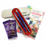 Flair & Glare - Flair Carlton - Set of Roller Pen & Ball Pen, 2 Dairy Milk and Card
