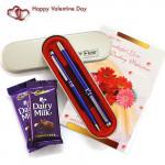 Flair & Glare - Flair Carlton - Set of Roller Pen & Ball Pen, 2 Dairy Milk and Card