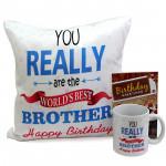 Brother Special - Happy Birthday Cushion, Happy Birthday Mug and Card